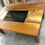 Matai table with glass inlayed