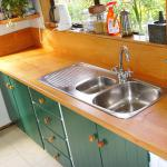 Beech worktop and hand painted units