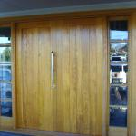 oak doors with side light.